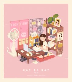 Day by Day: Animated GIFs by Rice is Too Thin Wonderful illustrations of everyday life by this Guangzhou-based artist who goes by the name Rice is Too Thin. Cute Illustration, Character Illustration, Digital Illustration, Cartoon Art, Cute Cartoon, Posca Art, Animated Gifs, Isometric Art, Dibujos Cute