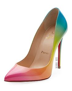 Pigalle Follies Ombre Patent Red Sole Pumps by Christian Louboutin at Neiman Marcus Louboutin Shoes Price, Christian Louboutin Heels, Gucci Soho, Rainbow Heels, Red Sole, Patent Leather Pumps, Leather Shoes, Gucci Bags, Beautiful Shoes