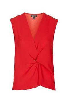 Top drapé sans manches - Rouge