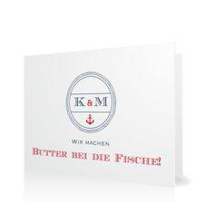 Hochzeitseinladung Butter bei die Fische in Taube - Klappkarte flach #Hochzeit #Hochzeitskarten #Einladung #elegant #modern https://www.goldbek.de/hochzeit/hochzeitskarten/einladung/hochzeitseinladung-butter-bei-die-fische?color=taube&design=42207&utm_campaign=autoproducts