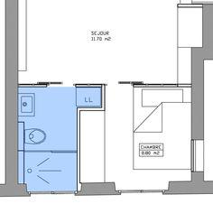 Plan d'une salle d'eau de 1,40 m² avec douche, WC et espace lave-linge