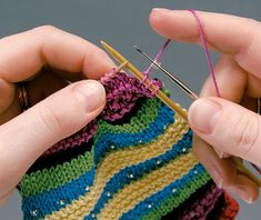 Knitting with beads - using a crochet hook to add them to your knitting. This is how I do it too.
