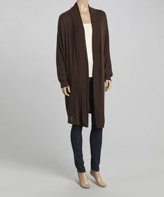 This Brown Open Duster by Casa Lee is perfect! #zulilyfinds
