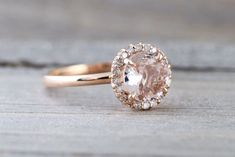14k Rose Gold Round 6mm Morganite Pink Peach Diamond Halo Engagement Ring Crown Vintage