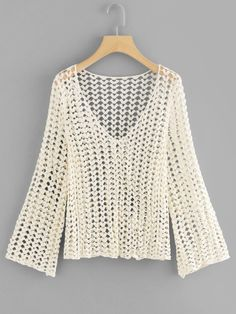 V Neckline Cut Out Crochet Topfor Women- - Diy Crafts Crochet Shrug Pattern, Top Pattern, Plain Tops, Spring Shirts, Cardigan, Boho Tops, Blouses For Women, Fashion News, Knit Crochet