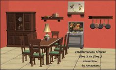 Mediterranean Kitchen to conversion - Amovitam's Dream Town Mediterranean Kitchen, Sims 2, A Table, Conversation, Sims Ideas, Maxis, Dining, Deco, Hoods