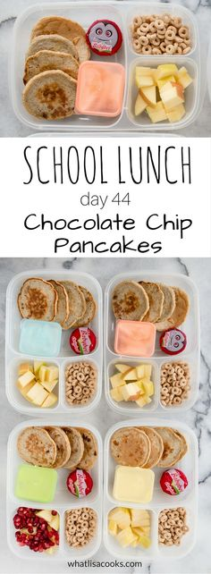 Chocolate chip pancakes for lunch? it's breakfast for school lunch. Healthy Lunches For Kids, Healthy School Lunches, Lunch Snacks, Kids Meals, Healthy Snacks, Lunch Box, Kid Lunches, Bento Box, Smoothies