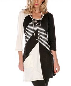 Take a look at this Black & White Color Block Shift Dress on zulily today!