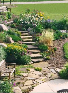 Tucking a rock patio into your yard makes a problem downslope a place for a quiet retreat.