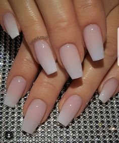 Nail art is a very popular trend these days and every woman you meet seems to have beautiful nails. It used to be that women would just go get a manicure or pedicure to get their nails trimmed and shaped with just a few coats of plain nail polish. Trendy Nails, Cute Nails, Hair And Nails, My Nails, Best Nails, Faded Nails, French Fade Nails, Ombre French Nails, Acrylic Nails Coffin Ombre