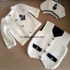 New crochet baby boy socks children ideas Crochet Socks, Crochet Cardigan, Baby Outfits, Kids Outfits, Baby Boy Christening Outfit, Crochet Baby Clothes Boy, Pull Bebe, Toddler Sweater, Boy Onesie