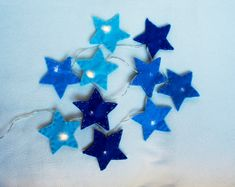 Star Felt String Lights Star night light felt by PrettyFeltThings