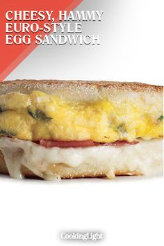 A Cheesy, Hammy Euro-Style Egg Sandwich Brunch Recipes, Breakfast Recipes, Fontina Cheese, Food Drive, Egg Sandwiches, Cooking Light, Prosciutto, Soups And Stews, Hot Dog Buns