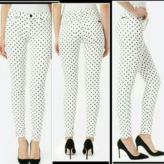 """Hit the spot: Hudson Nico Skinnies in Polka Dots Perfect for just about any spring and summer occasion, these playfully elegant midrise skinnies bring an Audrey Hepburn brand of chic to anywhere you wear them. Size 31.  True to size, very stretchy denim 93 cotton 5 poly 2 Lycra  Waistband is 17.5"""" flat across, 10"""" rise, 40"""" hips (20"""" flat across measured 2"""" below base of fly) 30"""" inseam,  11"""" leg opening (5.5""""across) Please keep in mind these jeans are made to stretch as they break in so…"""