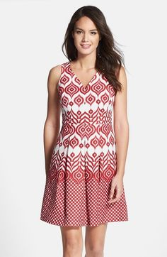 Main Image - Taylor Dresses Cotton Jacquard Fit & Flare Dress