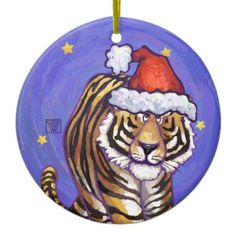 Festive Tiger Christmas Christmas Ornament designed by Animal Parade is a grrrr-eat way to decorate for the holidays. Rawr!