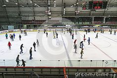 People on the ice in Ice Rink in Krakow , Poland.