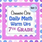 I have created daily warm ups with questions included from my popular 7th grade Common Core Math Assessments Test.    This file contains 20 warm ups ...