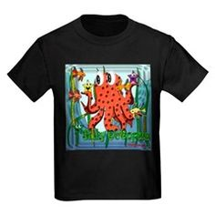 Octopus Kids Dark T-Shirt.  Silly Octopus for KIDS.  To see ALL items bearing this design, FOR KIDS ONLY - follow this link    http://www.cafepress.com/cheylines/2647127