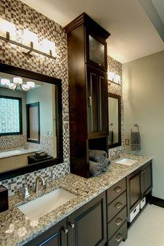 Traditional Master Bathroom with flush light, Flush, Simple granite counters, Ms international blanco tulum granite