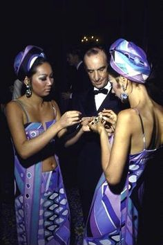 Emilio Pucci with models wearing his designs, 1968.
