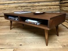 Boxer mid century modern coffee table with storage, featuring black walnut &…