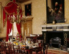 The Speakers' Parlour at Clandon Park near Guildford, Surrey, England, which became the Dining Room in the early 19th century. The Room takes its name from the portraits on the wall of the Onslow Speakers of the House of Commons