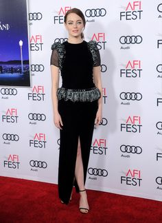 "Stunning Emma Stone in a Giorgio Armani Privé black velvet outfit with embellished silk jacquard details last night for the AFI Fest Centerpiece screening of ""LA LA LAND"" in Los Angeles. #ArmaniStars"