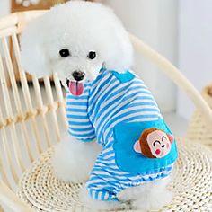 Cat / Dog Pajamas Blue / Pink / Yellow Winter / Spring/Fall Animal Holiday, Dog Clothes / Dog Clothing – USD $ 8.99