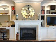 might like this if it were just lower cabinets and stone directly around the fireplace. Fireplace Mantel Designs : Home Improvement : DIY Network Fireplace Surround Kit, Faux Fireplace Mantels, Fireplace Bookshelves, Fireplace Built Ins, Bookshelves Built In, Built In Desk, Fireplace Surrounds, Fireplaces, Fireplace Ideas