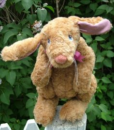 """Spring Rabbit This adorable 13"""" free-standing and fully jointed bunny can be made from mohair or acrylic fur. Requires three 35mm doll joints and two 45mm joints.  Cloth Doll Sewing Patterns by  Jennifer Carson THE DRAGON CHARMER"""
