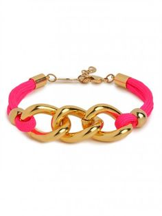 Pink Link Rope Bracelet! So cute and i am seriously obsessed with this website now!