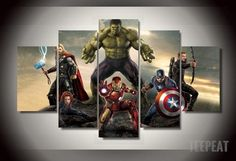 Modern Printed The Avengers Movie Painting On Canvas Room Decoration Print Poster Picture Canvas Canvas Wall Art (Unframed) Canvas Artwork, Canvas Wall Art, Wall Art Prints, Painting Canvas, Canvas Canvas, Marvel Canvas, 5 Panel Wall Art, Canvas Pictures, My New Room