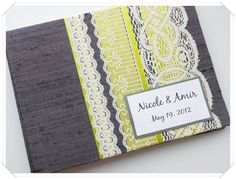 dark gray coal and lime weddin guest book