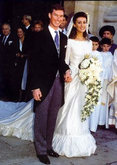 knowingtheroyals:  Wedding of Prince Guillaume of Luxembourg and Sibilla Sandra Weiller y Torlonia, granddaughter of Queen Ena of Spain, September 24, 1994