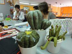 colección de cactus realizado por nuestras alumnas en el taller de Patchwork www.bordadosypatchworkamelia.com
