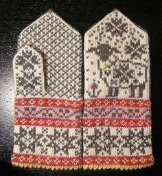 Ravelry: Selbu-Baaa-Ter pattern by Mary Scott Huff Mittens Pattern, Knit Mittens, Knitted Gloves, Knitting Socks, Hand Knitting, Wrist Warmers, Hand Warmers, Knitting Charts, Knitting Patterns