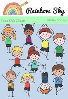 Included 10 boys and girls in different yoga positions. For personal or commercial use. PNG files, transparent grounds and 300 dpi. Kids English, Rainbow Sky, Yoga Positions, Yoga For Kids, Activities To Do, Teaching Resources, Boy Or Girl, Clip Art, Positivity