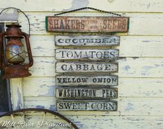 Primitive Aged Shaker Seed Farm Stand Menu Wood Sign with Rusty Chain by MillRiverPrimitives on Etsy Barn Wood Signs, Farm Signs, Wooden Signs, Primitive Signs, Primitive Crafts, Farmers Market Sign, Homemade Signs, Magnolia Farms, Diy Kitchen Decor