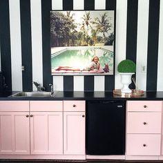 Bold black stripes, soft pink + Slim Aarons pool pic