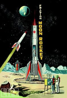 Buyenlarge Friction Moon Rocket Vintage Advertisement on Wrapped Canvas Size: 3 Arte Sci Fi, Sci Fi Art, Vintage Space, Vintage Toys, Illustrations, Illustration Art, Cyberpunk, Les Reptiles, Retro Rocket