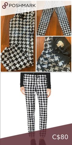 Michael Kors Sequin pants Black/white sequined mesh in houndstooth pattern.Elastic cuffs cropped at ankle.Pull-on waist. Worn only once. Black Sequin Pants, Plus Fashion, Fashion Tips, Fashion Trends, Michael Kors Black, Houndstooth, Pant Jumpsuit, Jumpsuits, Cuffs