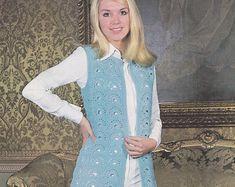 Womens vintage crochet pattern sleeveless vest jacket | Etsy Vintage Knitting, Vintage Crochet, Double Knitting, Double Crochet, Knitting Patterns, Crochet Patterns, Retro Outfits, Vintage Jacket, Little Girl Dresses