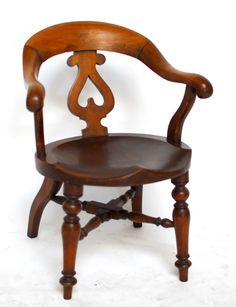 Antique English Mahogany Horseshoe Pub Chair by ErinLaneEstate Pub Chairs, Wood Slab, Desk Chair, Heart Shapes, Victorian, Carving, English, The Originals, Antiques
