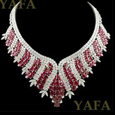 diamond and ruby necklace - Yafa Jewelry Ruby And Diamond Necklace, Ruby Necklace, Ruby Jewelry, Emerald Earrings, Fine Jewelry, Jewelry Necklaces, Necklace Set, Bridal Jewelry, Bracelets