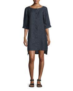 Organic+Linen+Button-Front+Dress,+Denim,+Women\'s+by+Eileen+Fisher+at+Neiman+Marcus.
