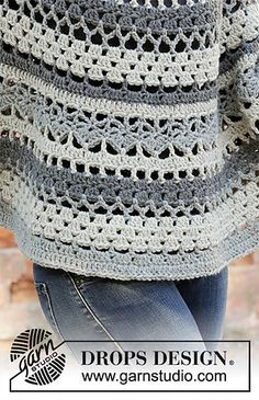 Crocheted poncho-sweater in DROPS Nepal. The piece is worked top down with lace pattern and stripes. Sizes S – XXXL.Ravelry: Insolence pattern by DROPS design Mode Crochet, Crochet Diy, Crochet Coat, Crochet Jacket, Crochet Cardigan, Crochet Shawl, Crochet Clothes, Crochet Stitches, Poncho Sweater