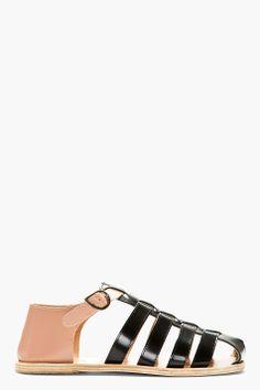 carven black & nude leather sandals