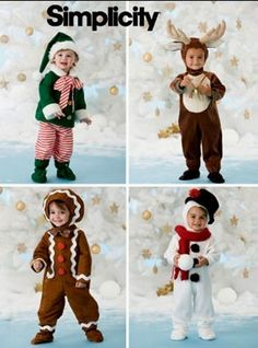 Toddler Christmas Costume Sewing Pattern - Elf Snowman Reindeer Gingerbread Halloween Costumes - OOP & Last One