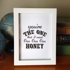 5x7 Printable Quote Typography . Download and Print Image . You're the one that I want . Grease Lyric